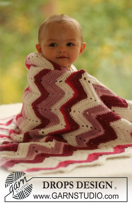 "Free pattern! BabyDROPS 16-24: Crochet DROPS blanket with zigzag pattern in ""Alpaca"" (Change language on pattern by clicking on the link and selecting your language in the drop-down menu below the picture.)"