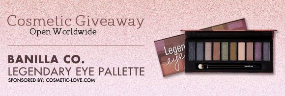 Be the lucky winner to receive this Banilla Co. Legendary Eye Palette worth $51 for FREE at Cosmetic-Love Giveaway. http://giveawaymonkey.blogspot.com/2013/09/cosmetic-love-giveaway.html