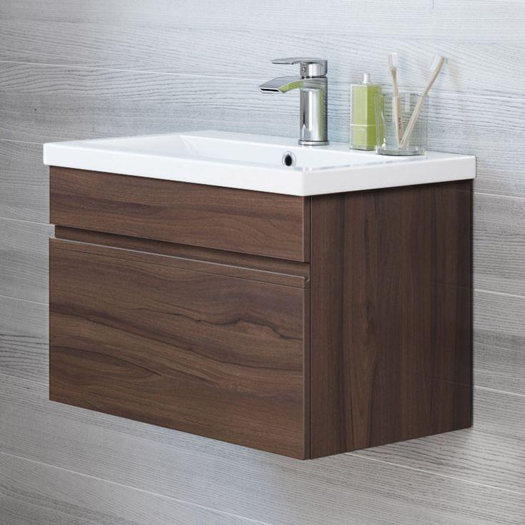 Modern Bathroom Wall Hung Walnut Storage Cabinet & Basin Sink Vanity Unit…