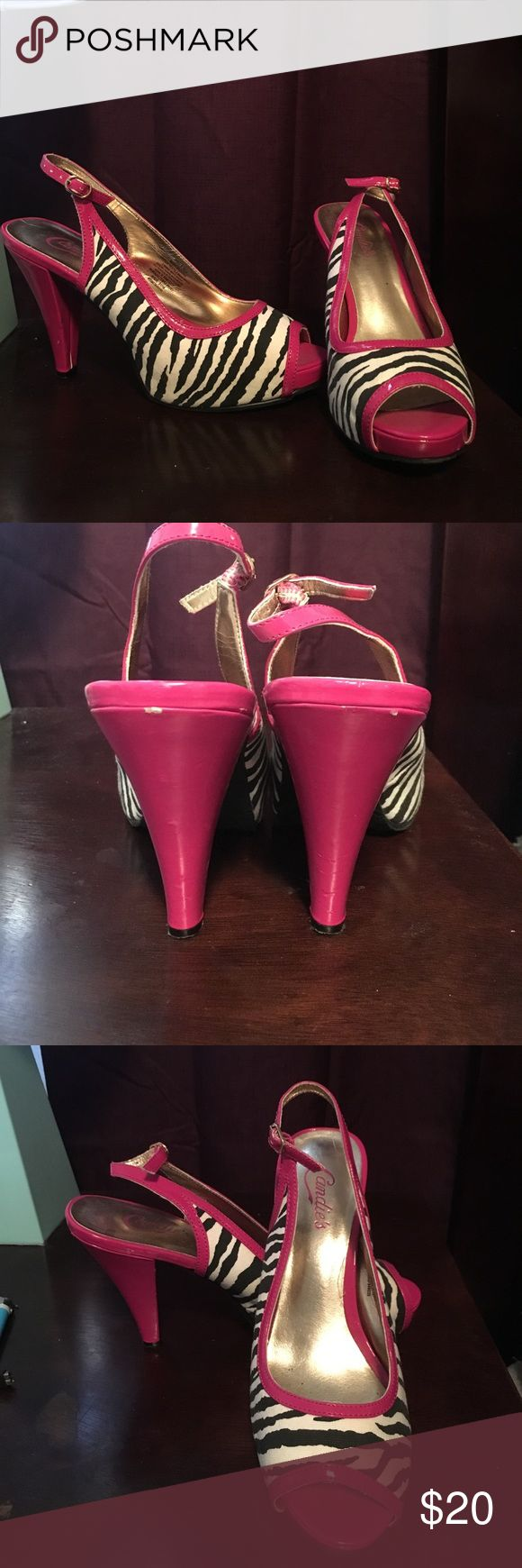 Candies zebra heels Women's size 9 medium width zebra heels with pink detail. Couple of scuffs on heels (see picture). Heels height is about 4inches! Candie's Shoes Heels