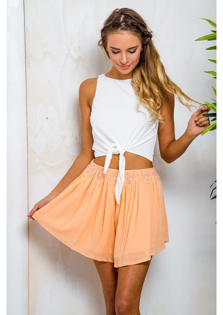 Date Pudding Womens Floaty Shorts - Sherbet Apricot $40.95 - Free Express Shipping