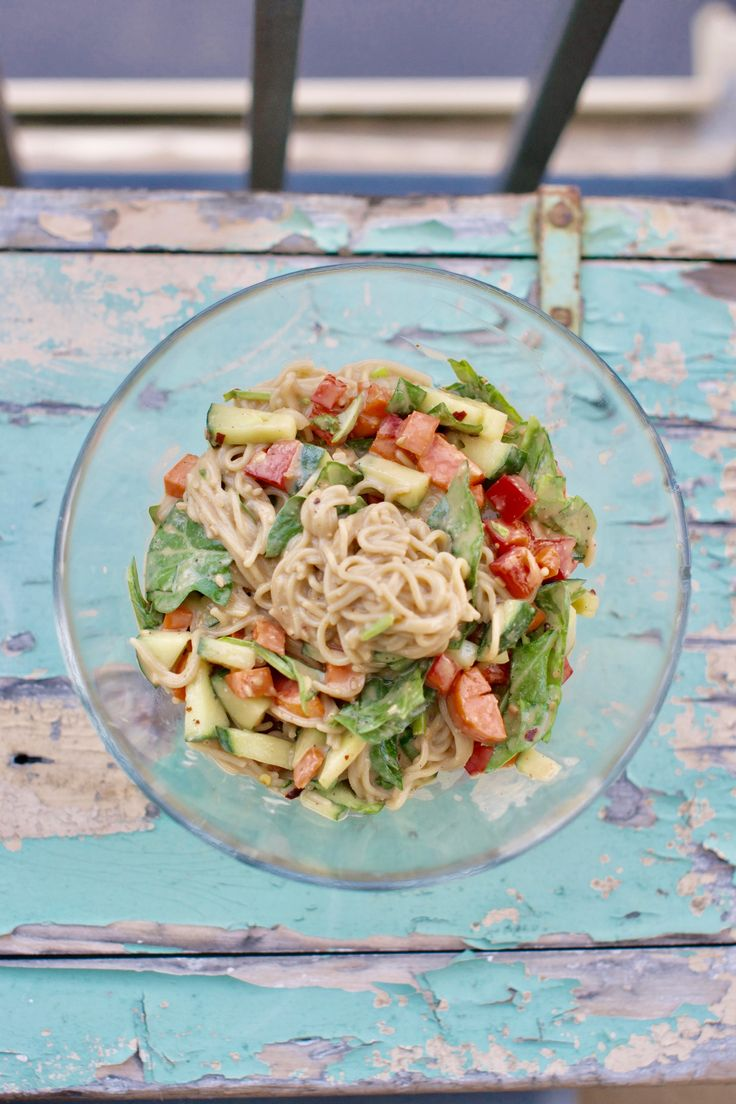 Spicy salad with peanut sauce