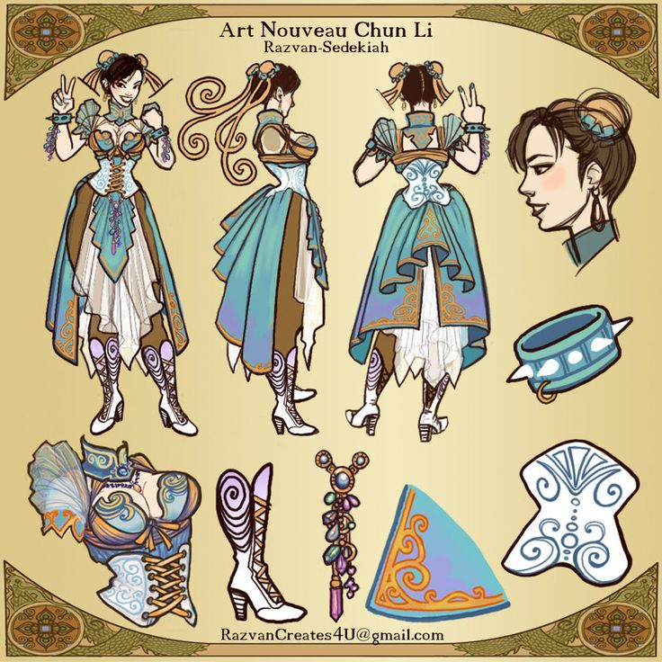 Art Nouveau Chun Li Turnaround by Razvan-Sedekiah on DeviantArt
