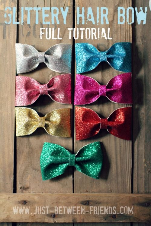 Glittery Hair Bow Tutorial | Super cute for little girl's hair, and SO EASY! #hairbow #tutorial #glitter