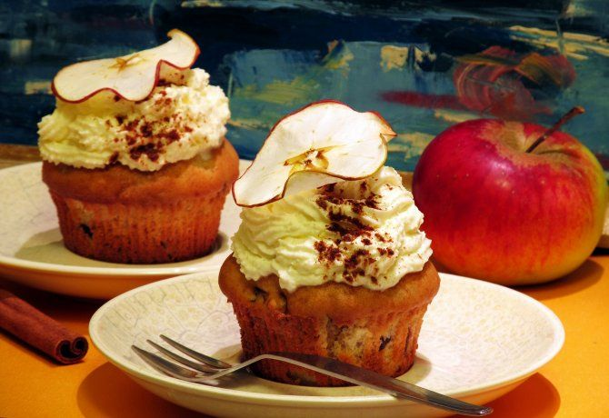 Diós-körtés muffin almaszirommal