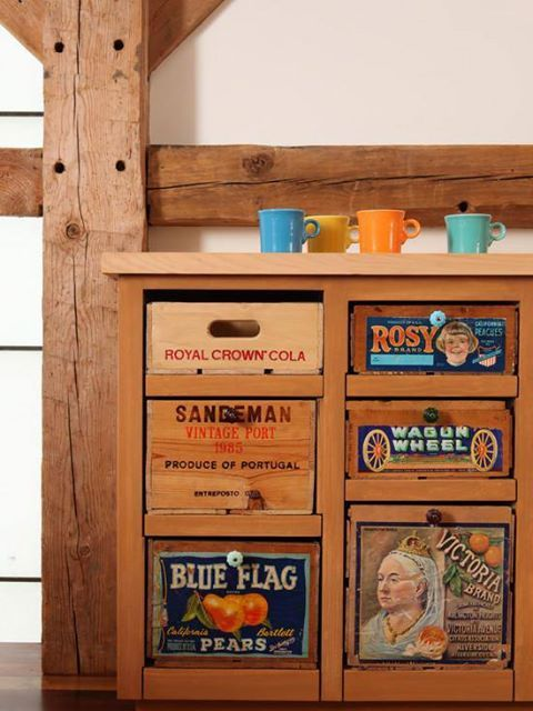 repurpose old fruit crates...if you can't find crates, make boxes and cut out pictures from magazines