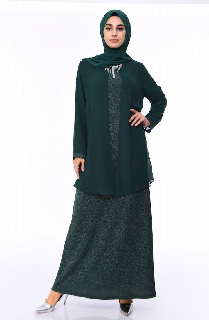 Sefamerve Buyuk Beden Simli Abiye Elbise 1052 02 Zumrut Yesili 2020 Elbise Elbise Modelleri Moda Stilleri