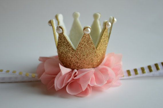 Gold Baby Crown Headband Pink Gold Crown por Moonpennieskids