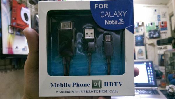 USB Cable HDMI Samsung Note 3 HDTV Black,kabel sambungan untuk ke TV, PC, Monitor dan SLide Proyektor dll. Put Your Smart Life on the Big Screen  Specification: * Mobile Phone HDTV, Medialink Micro USB 3.0 TO HDMI Cable * Max 1080p HDTV * Alimentacion de Vargas Para Smartphone * 8 Canales de Audio Digital * Longitud 1.8 m  Pembelian Qty, Harga bisa di Nego yah Bro, Sis, Agan, boss & guysss....  Pembelian bisa di kirim via tiki, jne & pos indonesia  Thank You Cust & BL Team  Thank...