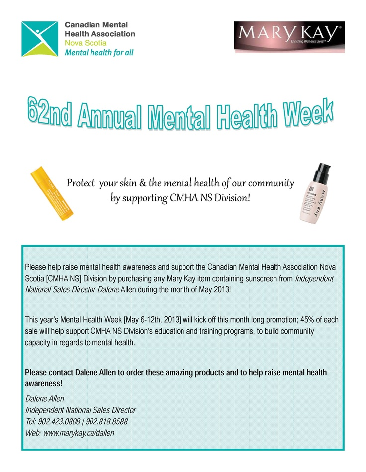 This year's Mental Health Week [May 6-12th, 2013] will kick off this month long promotion; 45% of each sale will help support CMHA NS Division's education and training programs, to build community capacity in regards to mental health.