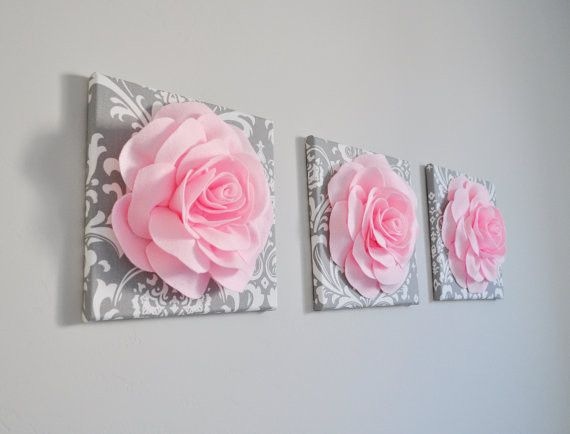 Trio Canvas Set Light Pink Roses on Gray and White Damask art Picture Decor for Bedroom