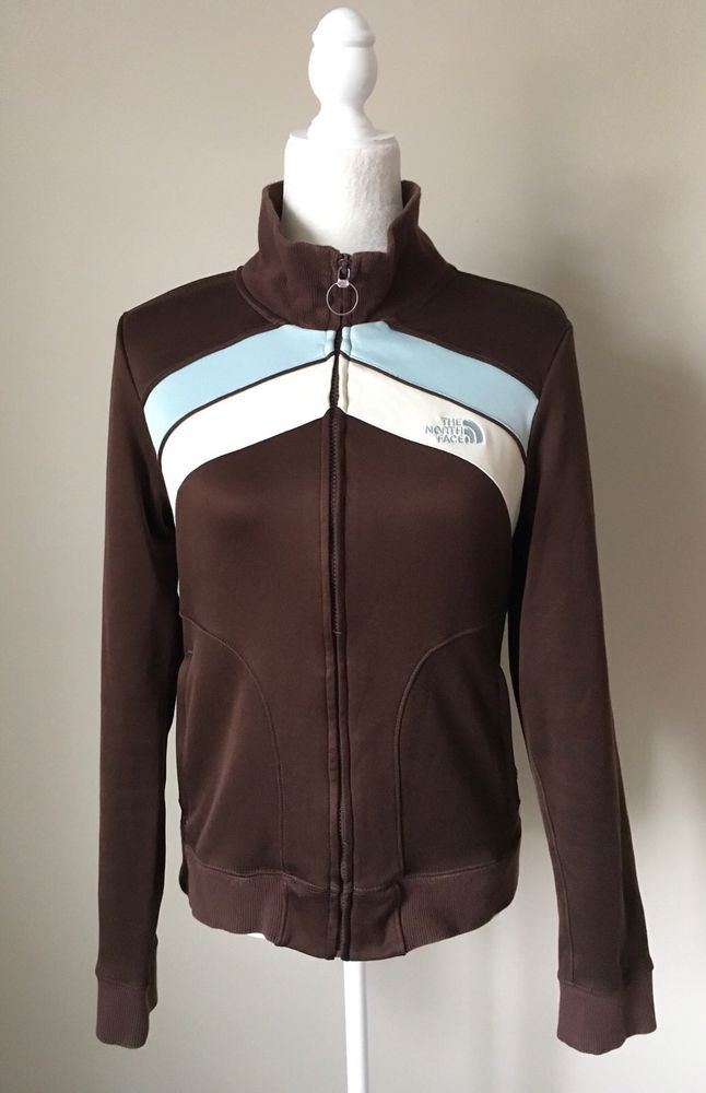 Women's The North Face Brown Blue White Front Zip Closure Jacket Sz M *Flaw  | eBay