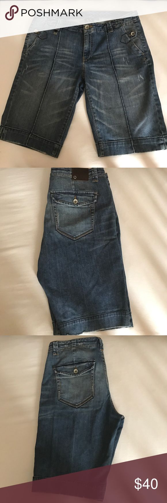 Woman's just above the knee AX denim shorts A|X just above the knee medium to light wash A/X Armani Exchange Shorts Jean Shorts