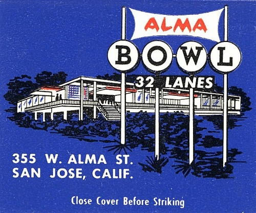 Blast from the past. It's just apartments now. Matchbook ad for Alma Bowling Alley, San Jose CA.