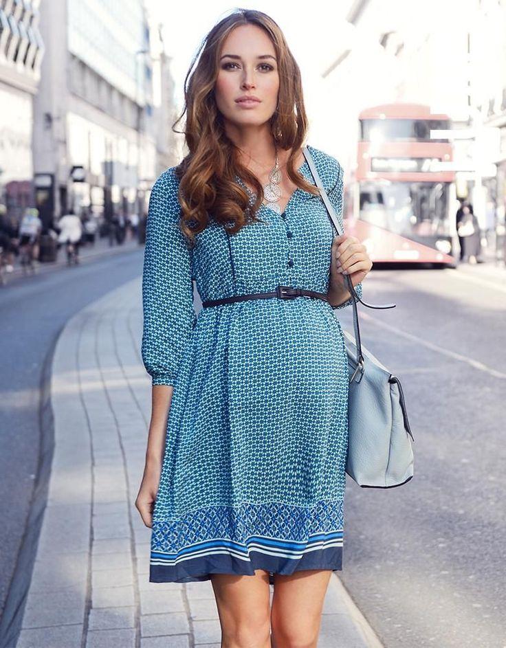 Seraphine Boho Woven Maternity Dress - Tile Print #pregnancybelt,
