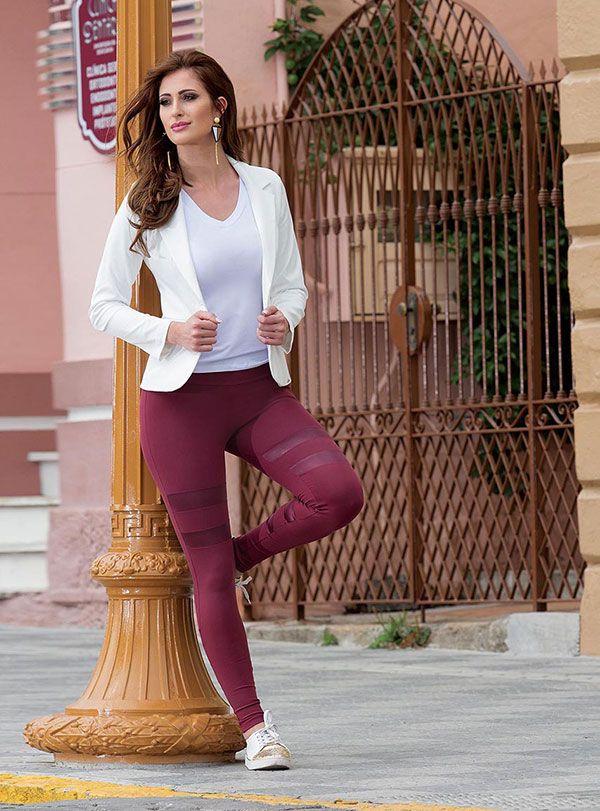 21003 / 07026 Calça Legging Montaria Cirrê  Brilho Recortes Casual Moda Feminina Rosa Goiaba