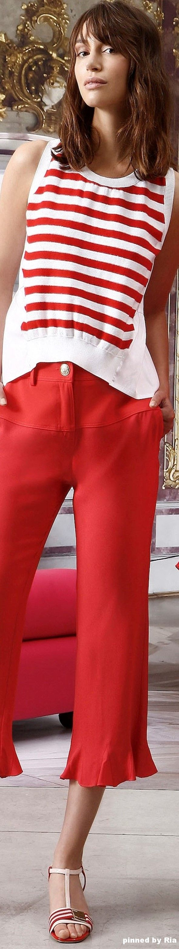 Top ideas for red pants - Atos Lombardini Resort 2017 L Striped Top Red Pants Closet Ideas Fashion Outfit Style Apparel