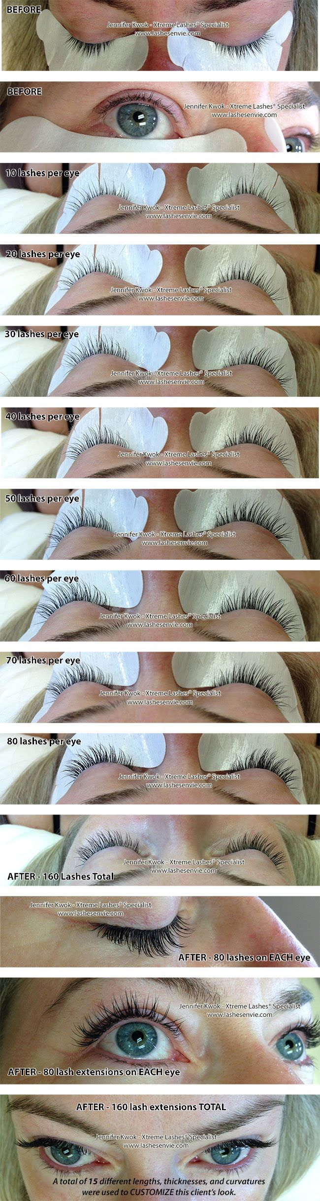 "The following image shows BEFORE, DURING (lashes per eye), and AFTER photos. This reference I created provides an idea of what each set of ""lashes per eye"" looks like. I customized her lash extensions by using 15 different lengths, thicknesses, and curvatures."