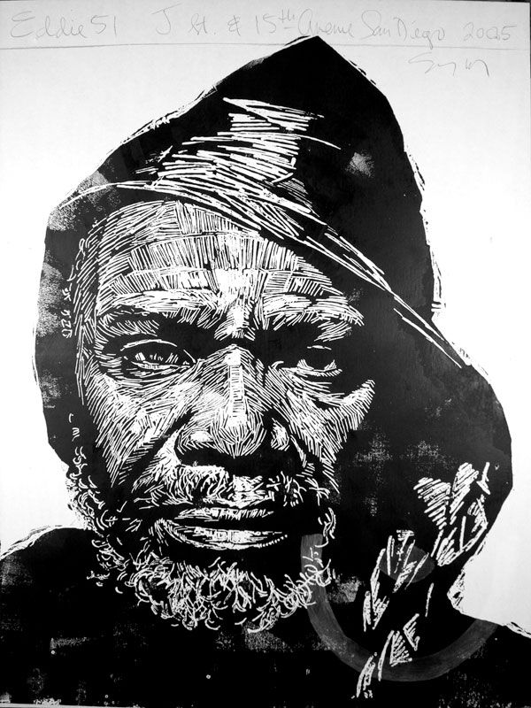 Eddie, 51, one of Neil Shigley's large block prints portraying the homeless in San Diego.