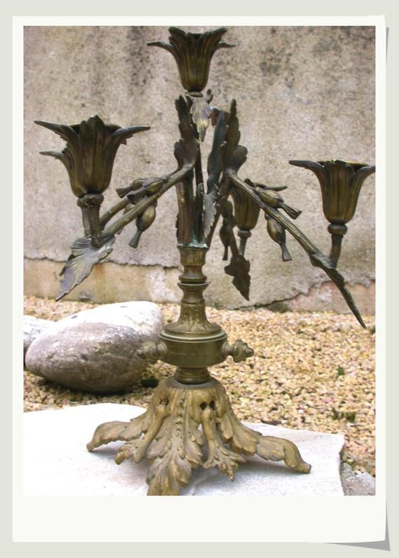 French antique 18th century solid bronze marble fireplace candelabras candle stick holder dragon bird ornate engraved gold gilt bronze