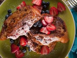 Stuffed French Toast with Fresh Strawberry Jam and Blueberries : Recipes : Cooking Channel