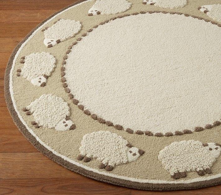 Brand New 5x5 Round Sheep Kids Handmade Hand Tufted Wool Area Rug Carpet