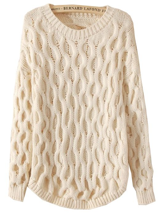 Beige Long Sleeve Cable Knit Loose Sweater US$32.46