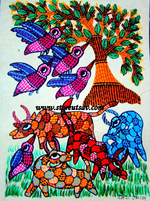 PAINTING POSTCARD SIZE - Original Gond Painting of Madhya Pradesh -Birds and Cows in Forest-Tribal Painting from Central India by Store Utsav (www.storeutsav.com)