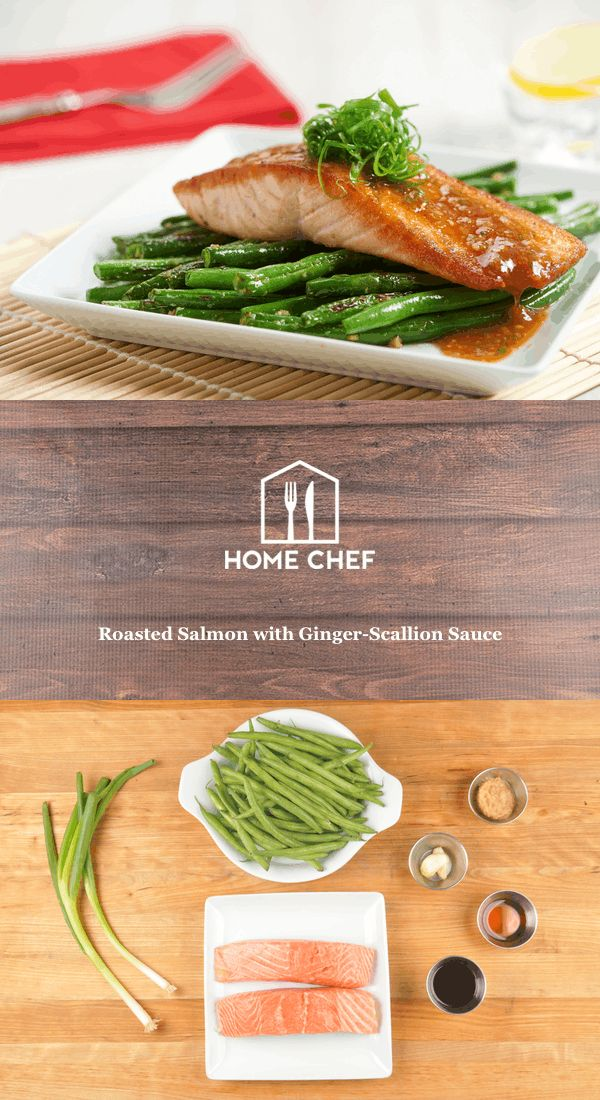 Roasted Salmon with Ginger-Scallion Sauce and charred green beans
