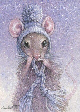 """Art by Lynn Bonnette: """"Blue Mouse Hat"""""""