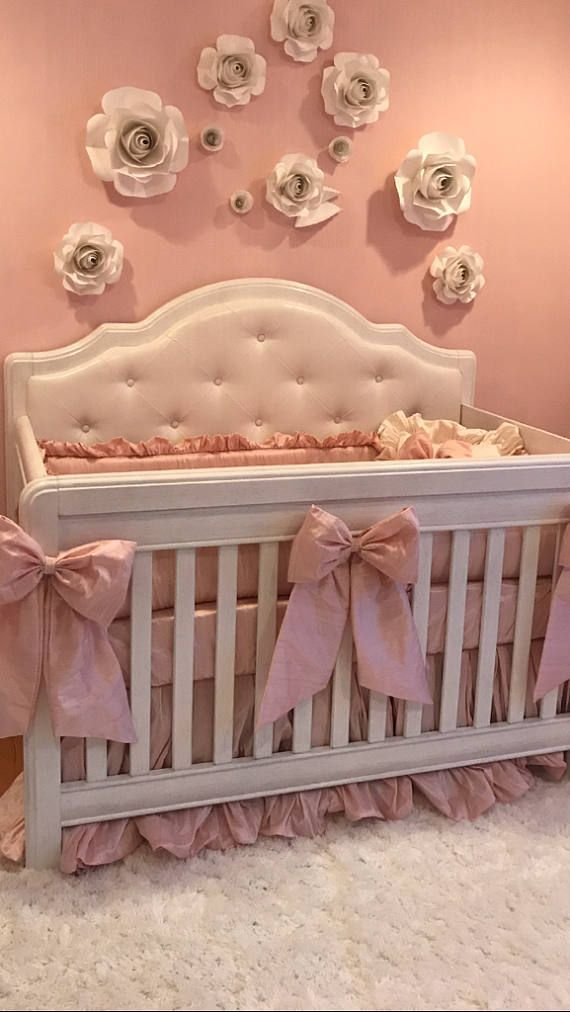 Solid Colors For Crib Or Cradle Bedding Set Is Made With Silk Over Sized Skirt And Pink Bows With Si Baby Girl Nursery Room Luxury Baby Crib Girl Nursery Room