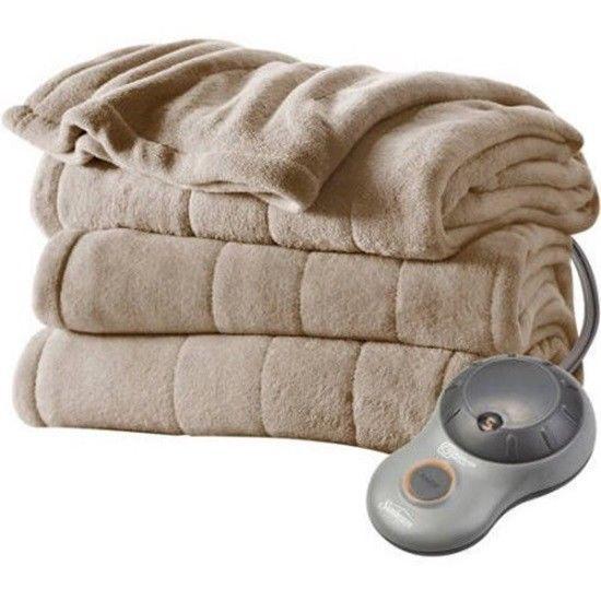 Sunbeam Electric Heated Plush Blanket Queen Size Mushroom Dual Controls Toasty  #Sunbeam #Modern