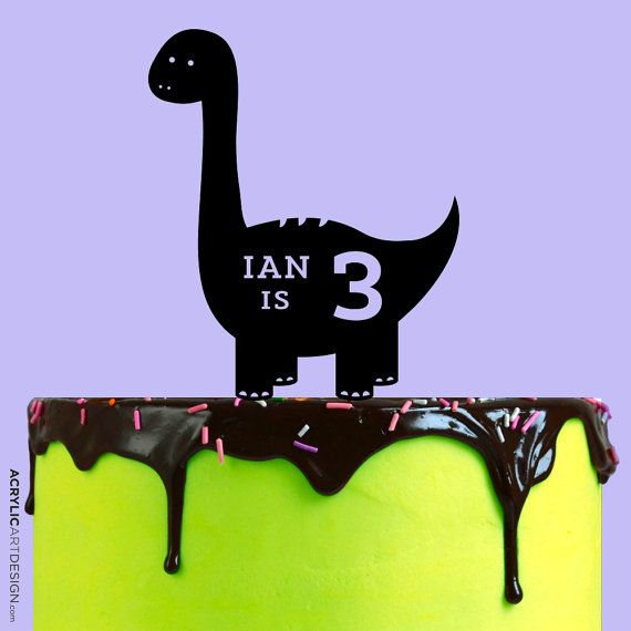 Dinosaur Birthday Cake Topper Personalized by by AcrylicArtDesign