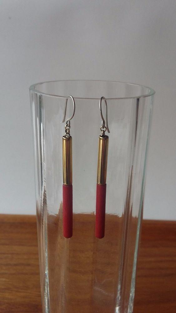 Aarikka Finland Vintage Earrings Red Wood Gold Metal Parts  Dangle 1980s #Aarikka