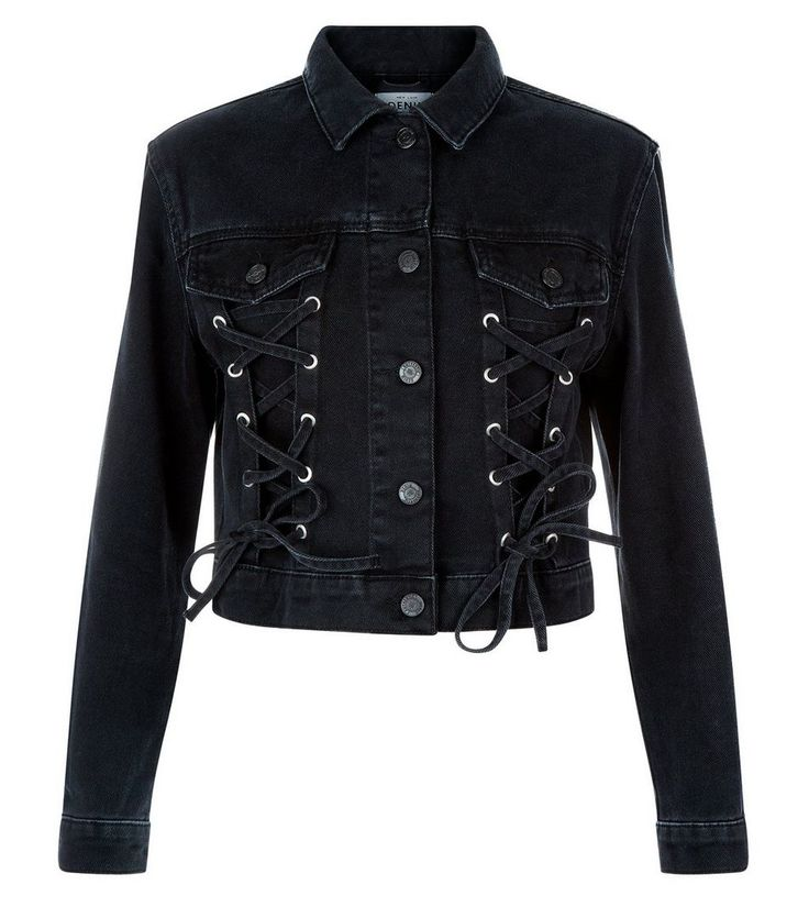 Black Lace Up Front Detail Denim Jacket | New Look