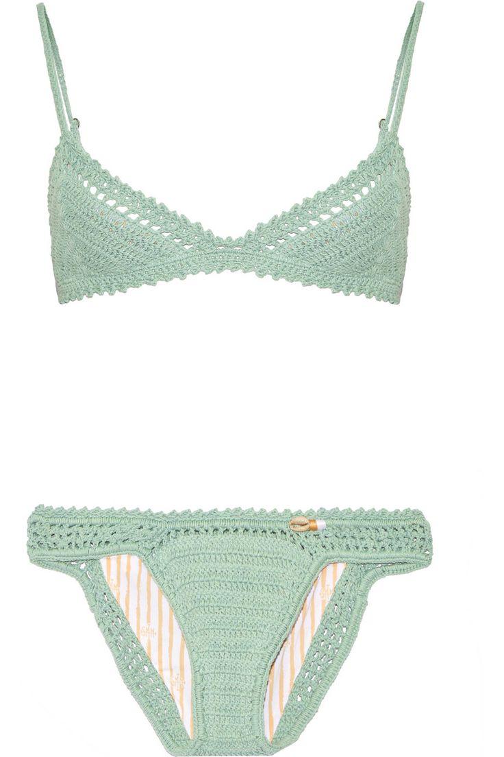 She Made Me   Crocheted cotton triangle bikini   NET-A-PORTER.COM