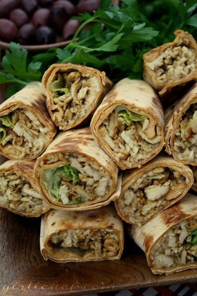 "Spiced Shawarma Chicken Wraps...the Middle Eastern version of ""fast food"". Why am I not living in the Middle East?? :) I'd sub tzatziki sauce, or some variation, for the garlic mayo dip. The meat and spice blend?? Incredible! Could put this in whole wheat pitas or lavash as well as normal wraps or serve it with something devastatingly yummy like na'an bread."