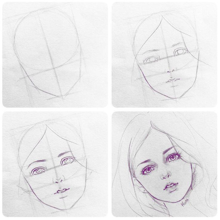 Рисунки лица поэтапно для начинающих
