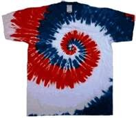 red, white and blue tie dye