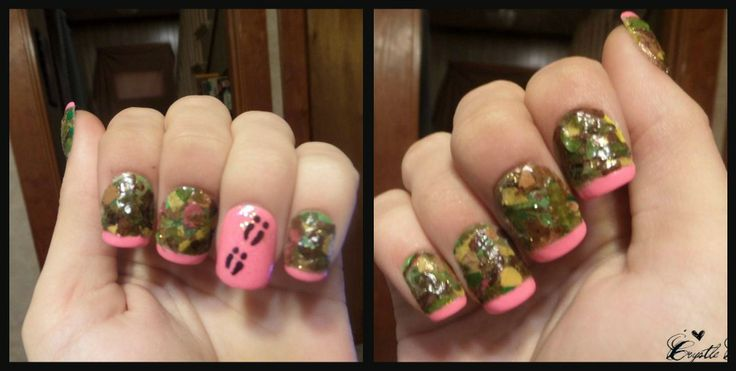 Realtree Camouflage Nail Art Done With All Real Leaves Pink Tips And Deer Tracks On Ring