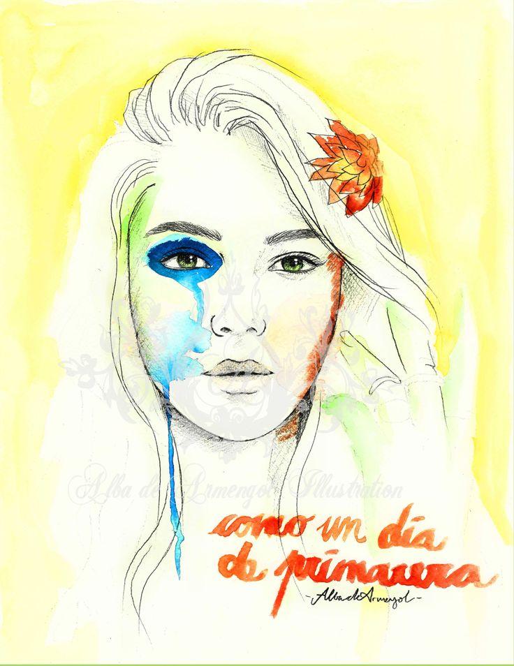 alba de armengol illustration spring flowers girl beauty