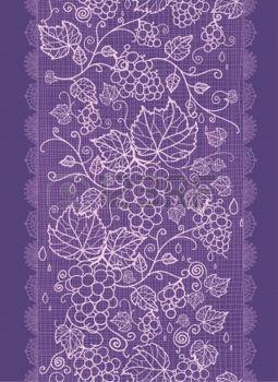 dibujos de hojas de otoño: Encaje de las vides de uva vertical de frontera de…