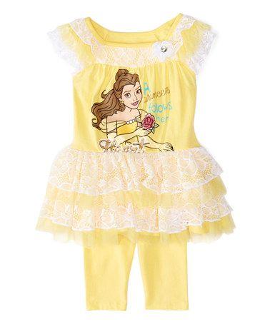 Loving this Yellow Disney Princess Belle Dress & Leggings - Toddler & Girls on #zulily! #zulilyfinds