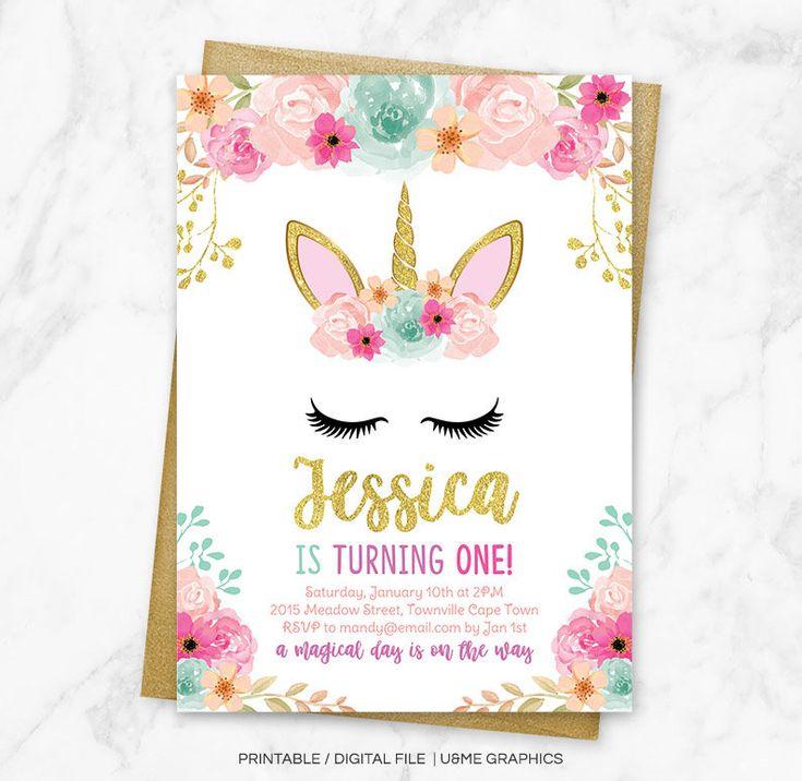 Best 25+ Unicorn invitations ideas on Pinterest | Unicorn birthday invitations, Unicorn party ...