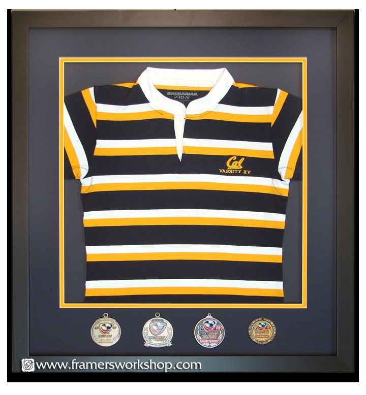 Cal Rugby Jersey Framed with medals