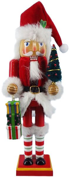 N129: 12 inch Red and White Santa Nutcracker
