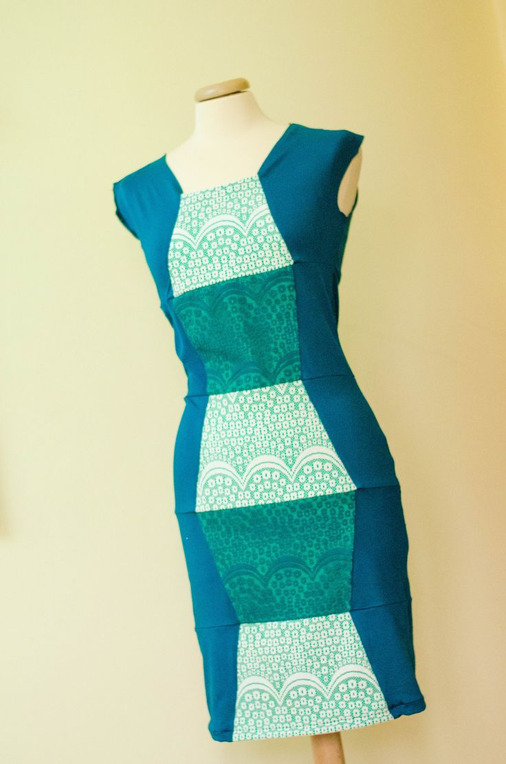 Upcycled dress made from preconsumer textile waste;
