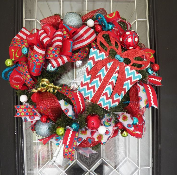 Blue and Red Christmas Wreath, Christmas Decoration, Holiday Wreaths, Front door Wreath, Door Hanger, Ready to ship by OccasionsBoutique on Etsy