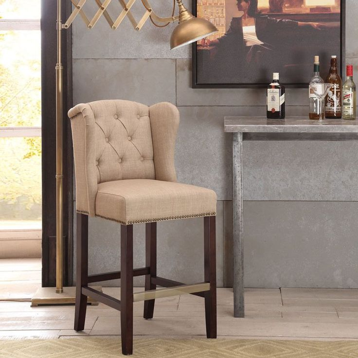 Margo Linen Fabric Tufted Wing Back Counter Stool By I