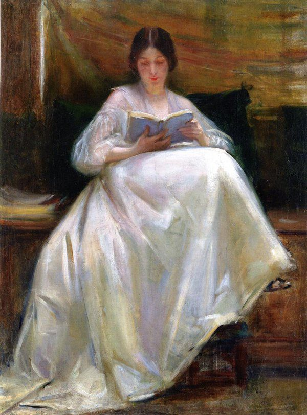 Woman Reading (c.1903). Laura Muntz Lyall (Canadian, 1860-1930).In 1887 Lyall studied at South Kensington, and later in Paris at the Académie Colarossi under J. Leblanc and others. She received honorable mention in 1895 at the Paris Salon, won a bronze medal at the Louisiana Purchase Exposition in 1904 and a silver medal at the Pan-American Exposition in Buffalo in 1901.